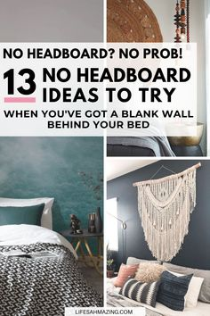 If you're looking for headboard alternatives, I've rounded up 13 awesome no headboard ideas for your bedroom that are easy to add and will make a statement. Wall Behind Bed, Shelf Above Bed, Bed Wall, Bedroom Setup, Accent Wall Bedroom, Master Bedroom, Bedroom Decor, Headboard Alternative, Headboard Decal