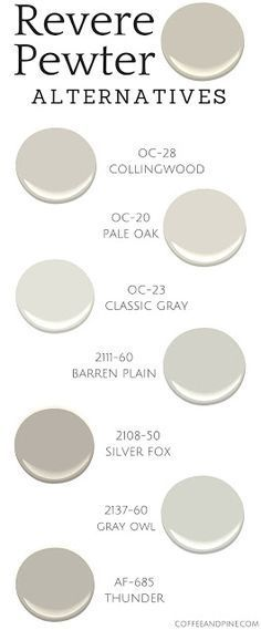 Kitchen Colors For Walls With Oak Benjamin Moore Revere Pewter Ideas Neutral Paint Colors, Paint Color Schemes, Interior Paint Colors, Paint Colors For Home, Wall Colors, House Colors, Colour Gray, Basement Paint Colors, Interior Painting