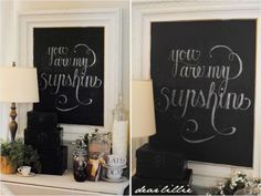 Neat idea for chalkboard paint (framed). #craft #diy #chalkboard