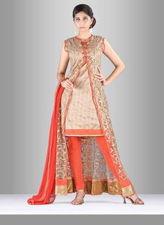 Make the heads flip after you dress up in such a net trendy suit. The resham…