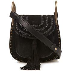 Chloé Hudson mini suede cross-body bag (37 690 UAH) ❤ liked on Polyvore featuring bags, handbags, shoulder bags, black, black shoulder bag, black suede purse, black crossbody purse, chloe crossbody and black studded handbag