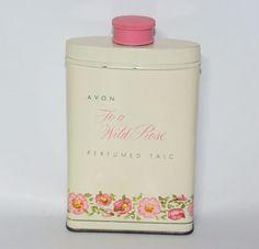 Vintage Avon To a Wild Rose Perfumed Talc Powder Vanity Advertising Tin 2.75 oz  | eBay