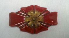 Large Vintage Red Carved Bakelite and Brass Flowered Pin | eBay