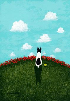 Rat Terrier Dog Folk art print by Todd Young painting Red Poppies. $12.50, via Etsy.