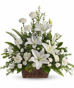 Order Peaceful White Lilies Basket flower arrangements from All Flowered Up Too, your local Lubbock, TX florist. Send Peaceful White Lilies Basket floral arrangement throughout Lubbock and surrounding areas. Basket Flower Arrangements, Funeral Floral Arrangements, Altar Flowers, Church Flowers, Beautiful Flower Arrangements, Beautiful Flowers, Wedding Flowers, Fresh Flowers, Flower Baskets