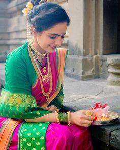 Marathi Saree, Marathi Bride, Marathi Wedding, Saree Wedding, Indian Wedding Theme, Wedding Saree Collection, Nauvari Saree, Bridal Photoshoot, Photography Poses Women