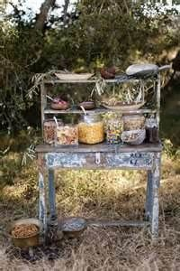 I love the idea of a trail mix bar for wedding favors. I know it fits a fall wedding better, but whenever Nick and I go on trips in the car we always pick up trail mix. Just have to figure out a cute/fun way to display it. Dessert Buffet, Dessert Bars, Candy Buffet, Lolly Buffet, Breakfast Buffet, Candy Table, Dessert Tables, Wedding Reception Decorations, Wedding Favors