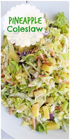 May 2020 - This Easy Pineapple Coleslaw is going to remind you of summer all year long. Enjoy as a side dish or top your favorite chicken burger with this one. Vegetable Side Dishes, Vegetable Recipes, Chicken Sides, Hamburger Side Dishes, Side Dishes For Chicken, Veggie Food, Pineapple Coleslaw, Summer Side Dishes, Cold Side Dishes