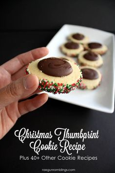 Christmas Thumbprint Cookie Recipe plus over 40 other cookie recipes - Rae Gun Ramblings Over 40 awesome cookie exchange recipes to make this holiday season as well as super yummy chocolate Christmas thumbprint cookies. Köstliche Desserts, Holiday Baking, Christmas Desserts, Christmas Treats, Delicious Desserts, Dessert Recipes, Christmas Sprinkles, Christmas Foods, Christmas Quotes