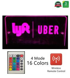 LED Light Logo Decal Glow Rideshare Sign Accessories Remote Intelligent Control 16 Luminous Colors 4 Control Modes Rideshare Sign Glowing Light Up Sticker For Car Taxi