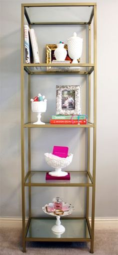 IKEA Shelving Unit Spray Painted Gold I have these shelves. Ikea Shelving Unit, Corner Shelving, Ikea Shelves, Gold Shelves, Billy Regal, Gold Etagere, Creation Deco, Gold Diy, My New Room