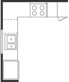 L-shaped is the most common layout plan. It requires less space and offers more flexibility in the location of workstations. This plan works well when the kitchen adjoins a casual space. Small Floor Plans, Kitchen Floor Plans, Kitchen Flooring, Barn Kitchen, Kitchen Layout, Kitchen Ideas, L Shaped Kitchen Inspiration, Work Triangle, Floor Plan Layout