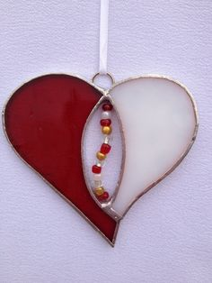 Stained Glass Ornament Red and White Heart with by MamaAgees