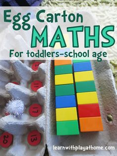 Egg Carton Maths. A fun game that can be modified to suit toddlers through to School Age kids. Ideas for extension and other ways to use are included at the bottom. (can be used for numbers, recognition, counting, addition, subtraction, multiplication etc)