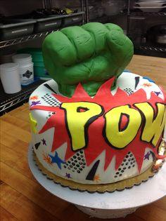 Comic book Hulk cake. Made @ Gayle Orth Catering