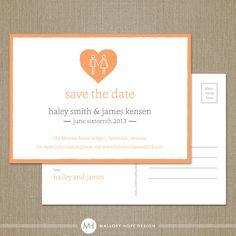 Holding Hands Modern Wedding Save the Date Postcard - Set of 100. $88.00, via Etsy.