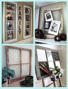 Ideas for Old Windows @ DIY Home Crafts Got the window Now what do I do with it?I have a ton of these old windows from when we put new windows in the house so excited to start my projects Diy Para A Casa, Diy Casa, Diy Home Crafts, Diy Home Decor, Rustic Crafts, Old Window Frames, Window Panes, Window Wall, Lace Window