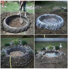 ~tire pond~ old recycled reused repurposed tire large big plastic stones rocks plants decoration water pond fish turtles garden calm pretty landscaping Garden Yard Ideas, Garden Projects, Tire Garden, Garden Art, Wood Projects, Ponds Backyard, Backyard Patio, Garden Ponds, Tire Pond