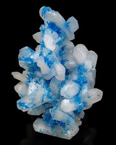 Cavansite on Stilbite - Wagholi Quarry, Wagholi, Pune District (Poonah District), Maharashtra, India  mw