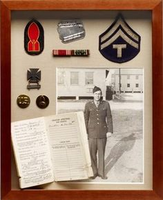 """""""Any day is a great day to celebrate a loved one, custom framing is the perfect way to display those special items. Shadow Box Memory, Memory Frame, Military Shadow Box, War Medals, Heritage Scrapbooking, Scrapbooking Layouts, Memory Crafts, Vintage Crafts, Vintage Sewing"""