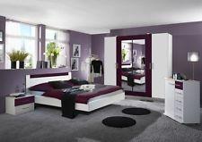 Komplett Schlafzimmer Norani, Schrank 180 Bett Nachtschrank Weiss Lila Brombeer