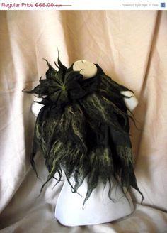 Leaf edgre look   https://www.etsy.com/listing/184318677/sale-nuno-felted-dark-green-shawl-scarf