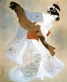 This ukiyo-e was painted in 1934 by the famous Itô Shinsui 伊東 深水 (1898-1972). This lady is performing the Lion Dance literally named 鏡獅子 Kagami jishi (Lion Dance) 1934.