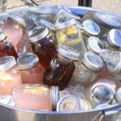outdoor wedding cocktails in mason jars!  Pre-mixed ... love this idea! #wherebridesgo