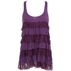 Charlotte Russe Tiered Purple Lace Tank Top Size Small