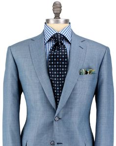 Brioni - how to do light blue. even the absurdly wide tie can't take away from this excellent suit Sharp Dressed Man, Well Dressed Men, Mens Attire, Mens Suits, Suit Fashion, Mens Fashion, Gq Style, Flirt, Mode Chic