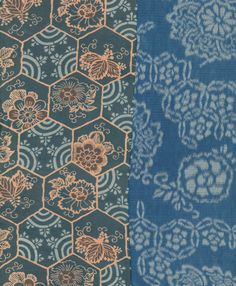 Detail of a silk 'dounuki' (specialized inner kimono) featuring hem fabric patterned using the katazome technique.  Late Edo to early Meiji (1775-1850), Japan.  The Kimono Gallery