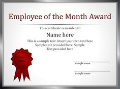 Impressive Employee of The Month Award and Certificate Template with Editable Name and Silver Frame List and Red Medal Brooch - an image part of 37 Awesome Award And Certificate Design Templates For Employee