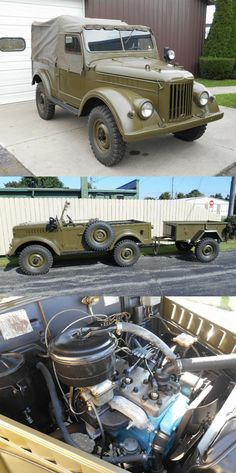 - rare 1963 GAZ 69 Military Troop Hauler and Trailer Military Vehicles For Sale, Vintage Cars, Antique Cars, Trailer Tires, Troops, Cargo Trailers, Trailers For Sale, Dream Garage, Old Cars
