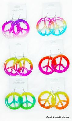 Rainbow Peace Sign Earrings - 80's Accessories - Candy Apple Costumes