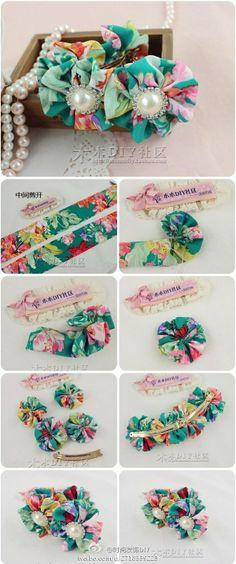 Para los accesorios del pelo de la flor de la tela de verano, cubierta de flores maravilloso sentimiento yo ~