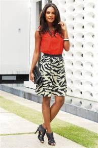Red And Zebra Print Dress