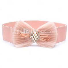 Spandex And Lace Stretch Belt in blushing pink