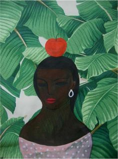 DIADIA,paint on fabric,woman with apple