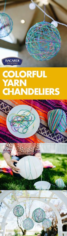 How to Make Diy;Hang colorful yarn chandeliers wherever you like to hang out! They are fun to do - How to Make Diy Fun Crafts, Crafts For Kids, Arts And Crafts, Paper Crafts, Yarn Chandelier, Chandeliers, Glue Art, Balloon Crafts, Yarn Shop