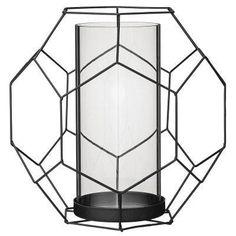 Bloomingville Basket kynttilälyhty L, musta