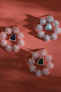 Diamond Necklaces, Diamond Jewelry, Diamond Earrings, Silver Jewellery Indian, Custom Earrings, Ear Rings, Summer Jewelry, Designer Earrings, All The Colors