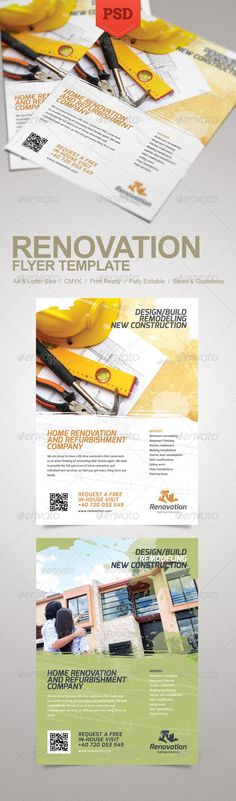 Renovation Flyer  #GraphicRiver         Promote your business with a unique and creative flyer template package.   Fully editable PSD templates  Bleed and guidelines  Fonts used is Exo. Download it from:  .fontsquirrel /fonts/exo