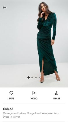 Shop Outrageous Fortune Plunge Front Wrapover Maxi Dress In Velvet at ASOS. Bridesmaid Ideas, Latest Trends, Wrap Dress, Asos, Velvet, Stuff To Buy, Dresses, Fashion, Bridesmaid Plait Ideas