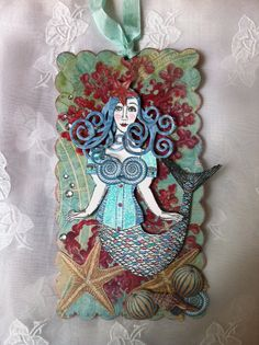 New Listing-RESERVED FOR CN--Mermaid, Paper  Doll, Art Tag, 3D, Corset, Fantasy,Victorian, Mixed Media, Whimsy, Nautical, NecTeam