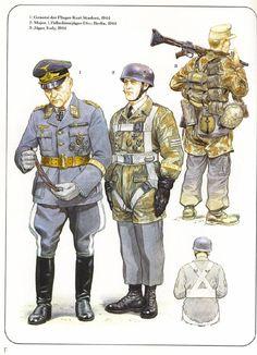 LUFTWAFFE - 1 General der Flieger Kurt Student, 1944 - 2 Major, 1 Fallshirmjaeger Division, Berlin 1944 - 3 Jaeger, Italy, 1944