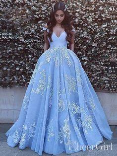 Princess Prom Dresses V-neck Sky Blue Off the Shoulder Quinceanera Dresses Robes Quinceanera, Pretty Quinceanera Dresses, Cute Prom Dresses, Blue Wedding Dresses, Trendy Dresses, Elegant Dresses, Gown Wedding, Lace Wedding, Fashion Dresses