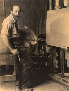 Eva Watson-Schütze, Bolton Brown at His Easel, c. 1910 on display at the Palmer Museum of Art at Penn State.