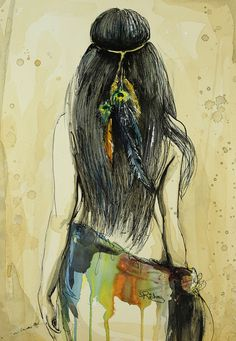 """Saatchi Online Artist: Sara Riches; Ink 2013 Drawing """"Feathers"""" #art #feathers #indian"""