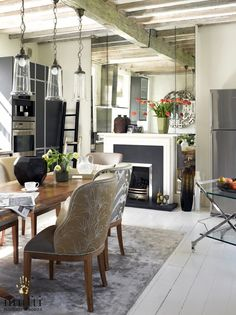 Interior design project : Riverside Apartment in Mortlake, London. Dining Area, Dining Table, Riverside Apartment, London Property, West London, Casual Elegance, Beams, My House, Tapestry