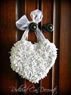 Hubby Undershirt Repurposed >>>> Heart Wreath